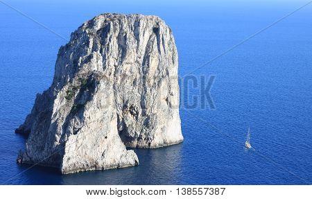 Faraglioni Cliffs, Mediterranean Sea Coast, Capri, Italy, Europe