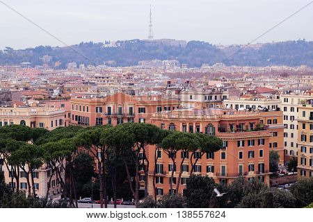 Rome, Italy beautiful image aerial view  with buildings