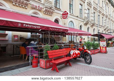 SAINT PETERSBURG, RUSSIA -JULY 09, 2016: Cafe on pedestrian street in the center of St. Petersburg on Malaya Sadovaya