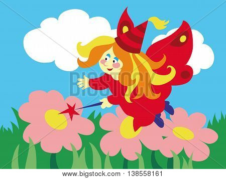 Beautiful cartoon fairy with magic wand on the meadow. Vector illustration.