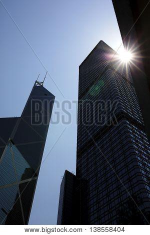 China Hong Kong Financial Centre with sunburst