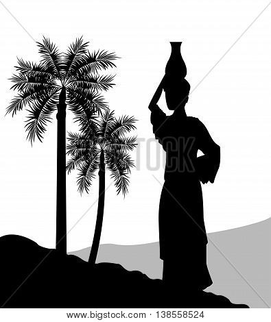 Desert concept represented by the woman with vessel icon. Silhouette and flat illustration.