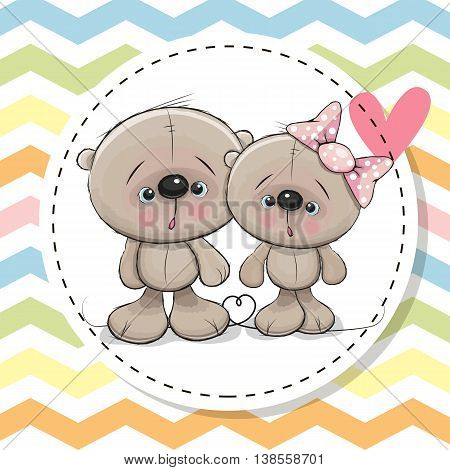 Greeting Card with Two cute Teddy Bears