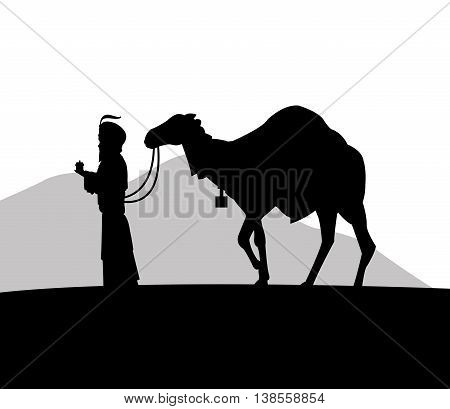 Merry Christmas and holy family concept represented by wise man and camel icon. Silhouette and flat illustration.