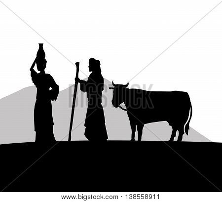 Desert concept represented by the woman with vessel and man with cow icon. Silhouette and flat illustration.