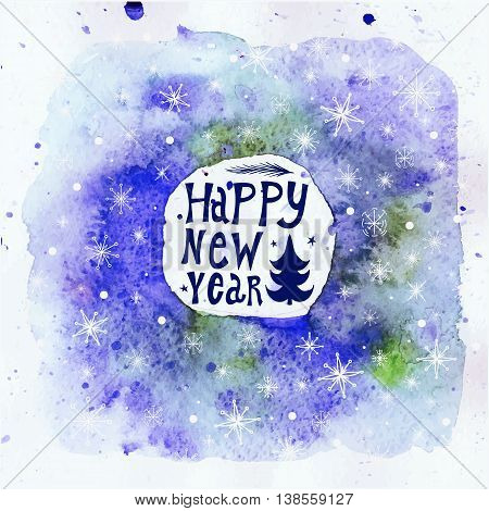 New Year Greeting Card. Happy new year lettering. Happy New Year with Christmass trees. Watercolor background. Vector.