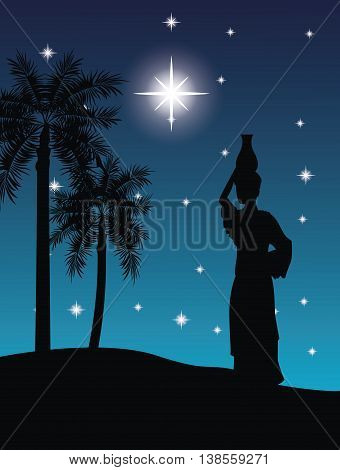 Desert on night concept represented by the woman with vessel icon. Silhouette and flat illustration.
