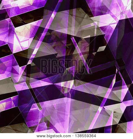 Abstract 3d relief background of purple and pink blocks and light reflections. Futuristic background of prisms, lines and polygonal shapes