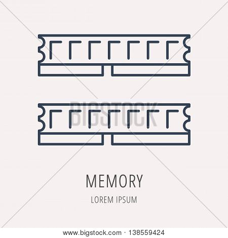 logo or label PC upgrading. Line style logotype template with PC memory. Easy to use business template. Vector abstract emblem.