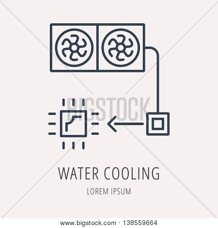 logo or label PC upgrading. Line style logotype template with water cooling. Easy to use business template. Vector abstract emblem.