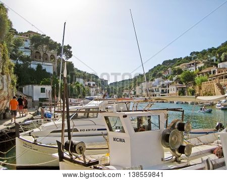 Cala Figuera Majorca Spain - June 22 2008: Fishermen boats and sailing boats in the harbor of Cala Figuera.