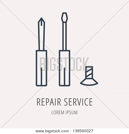 logo or label PC upgrading. Line style logotype template with repair service. Easy to use business template. Vector abstract emblem.