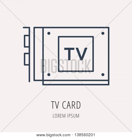 logo or label PC upgrading. Line style logotype template with TV card. Easy to use business template. Vector abstract emblem.
