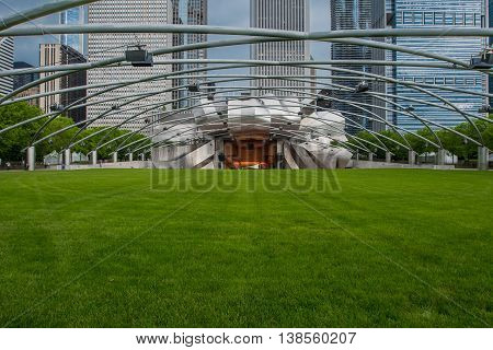 Chicago United States: May 25th 2016: Great Lawn at the Jay Pritzker Pavilion