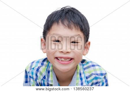 Happy Asian boy toothless smile close-up,new teeth rising over white
