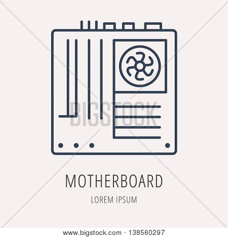logo or label PC upgrading. Line style logotype template with motherboard. Easy to use business template. Vector abstract emblem.