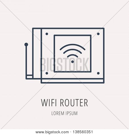 logo or label PC upgrading. Line style logotype template with wifi router. Easy to use business template. Vector abstract emblem.