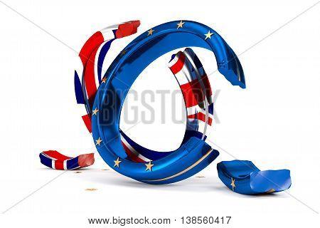 3D Illustration; broken Wedding Rings symbolize the Brexit