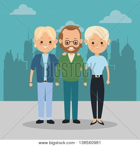 Family cartoon concept represented by grandfather and parents icon over city landscape.  Colorfull illustration