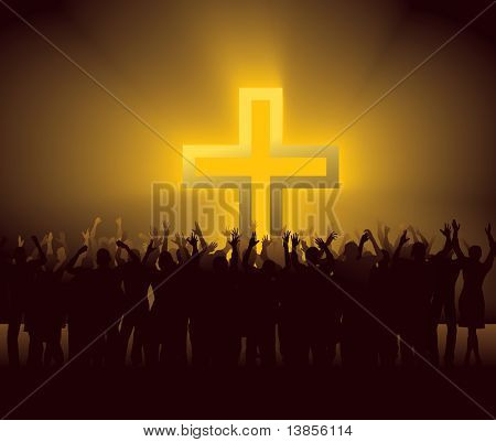 group of people around glowing Cross