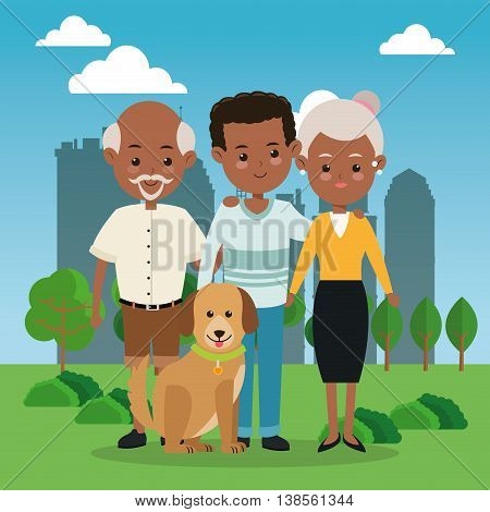 Family cartoon concept represented by grandparents with son icon over city landscape.  Colorfull illustration