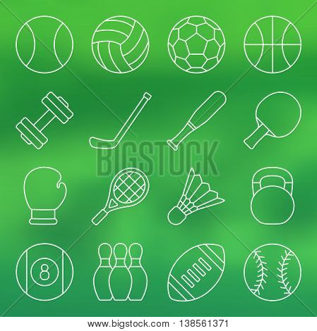 Vector illustration. Line icon set. Sports equipment in simple design. Balls and other sports equipment on green