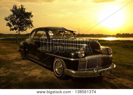 Nakhon Ratchasima, Thailand - June 13 : Vintage Car Desoto Is A Rare Old Car In The 1948 Season. On