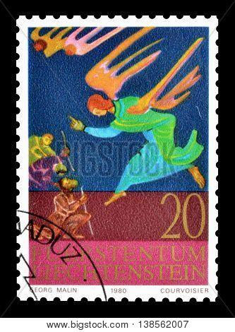 LIECHTENSTEIN - CIRCA 1980 : Cancelled postage stamp printed by Liechtenstein, that shows Scenes from the bible.