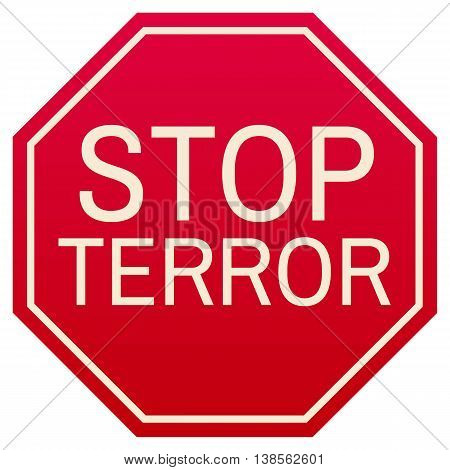 stop terror red symbol isolated on white background