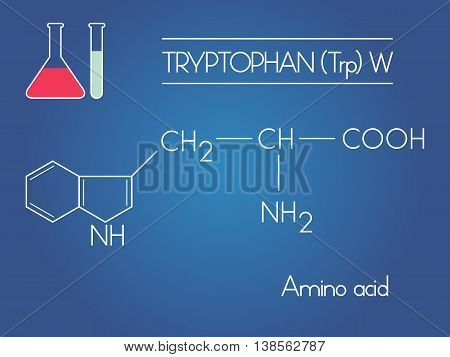 Tryptophan amino acid formula with test tubes on blue background