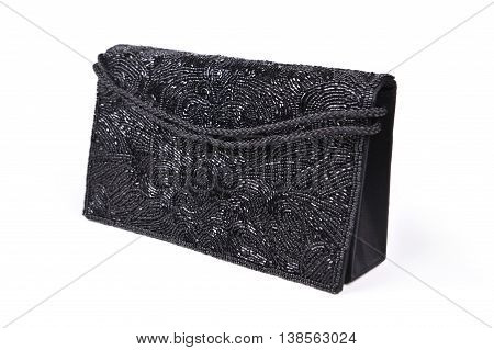 Female black evening clutch embroidered with beads