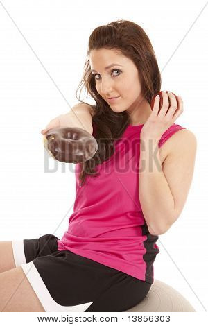 Woman Fitness Hand Donut Keep Apple