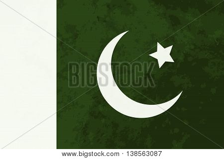 True proportions Pakistan flag with grunge texture
