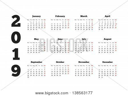 Calendar on 2019 year with week starting from monday A4 horizontal sheet