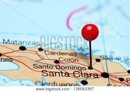 Santo Domingo pinned on a map of Cuba