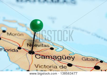 Camaguey pinned on a map of Cuba