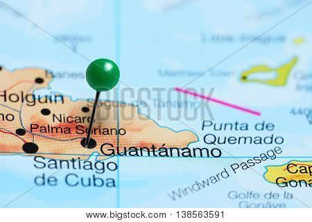 Guantanamo pinned on a map of Cuba