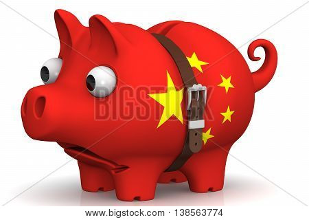 China's economic crisis. Tightened with a strap pig piggy bank with bulging eyes in the color of the Chinese flag on a white surface. The concept of economic crisis in China. Isolated. 3D Illustration