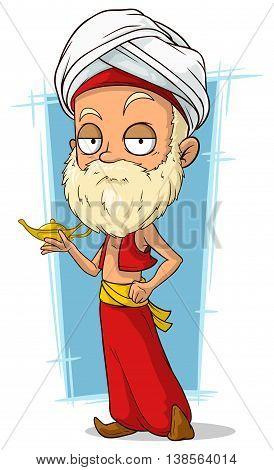 A vector illustration of cartoon oriental old man with turban