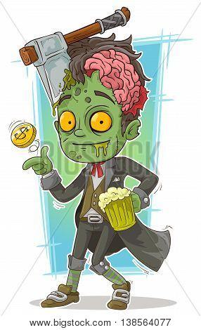 A vector illustration of cartoon pretty zombie with beer and axe
