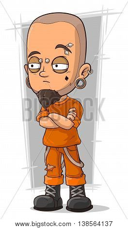 A vector illustration of cartoon prisoner in orange boiler-suit