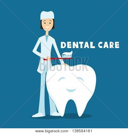 Healthy tooth and a dentist with a toothbrush in his hand.
