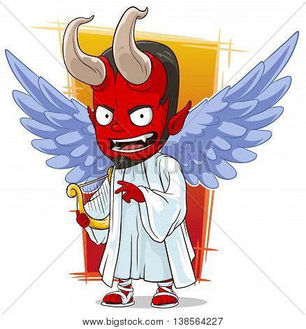 A vector illustration of cartoon red evil angel of hell