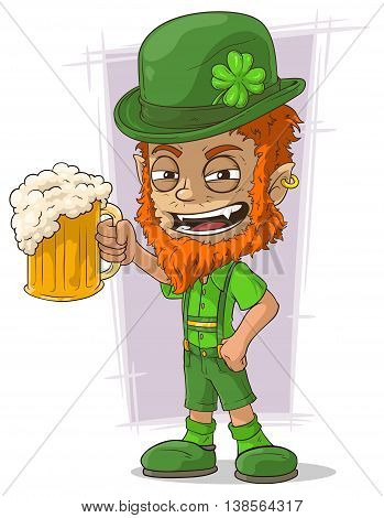 A vector illustration of cartoon redhead bavarian leprechaun