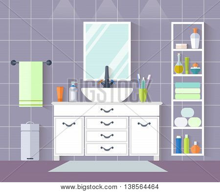 Interior design of a bathroom in a flat style. Vector illustration. Bathroom with sink wardrobe accessories towels soap.