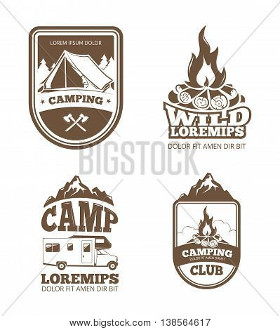 Wilderness and nature exploration vintage vector labels, emblems, logos, badges. Vintage badge camping club and illustration emblem for camping