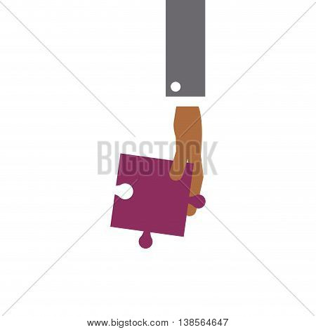 flat design hand holding puzzle piece icon vector illustration