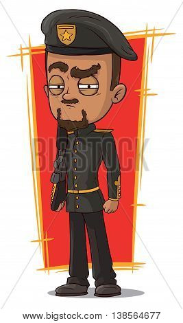 A vector illustration of cartoon serious soldier with rifle