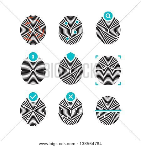 Fingerprint vector icons. Identity finger print or thumbprint set, security biometric symbols