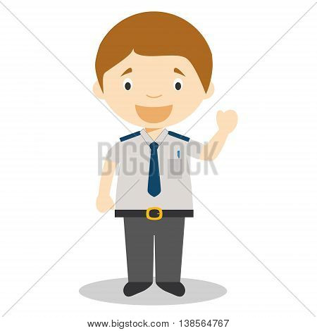 Cute cartoon vector illustration of a bus driver